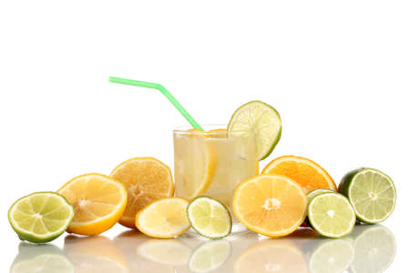 Citrus lemonade in glass of citrus around isolated on white Stock Photo - 15663286