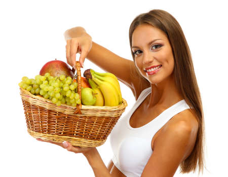 beautiful young woman with fruits in basket, isolated on white photo
