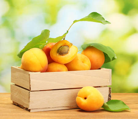 the peach: ripe apricots with leaves in wooden box on wooden table on green background