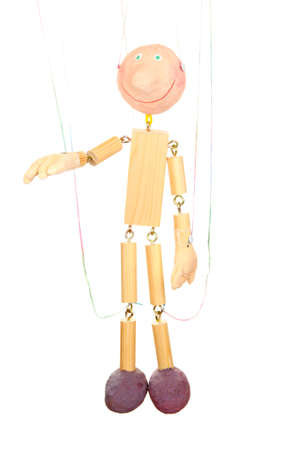 Wooden puppet isolated on white photo
