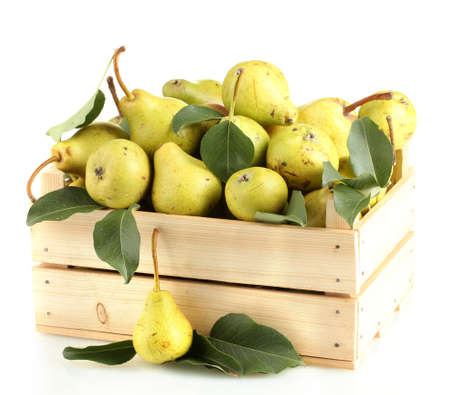 Juicy flavorful pears in box isolated on white photo