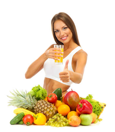 beautiful young woman with fruits and vegetables and glass of juice, isolated on white Stock Photo - 15958732