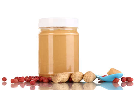 Delicious peanut butter in jar isolated on white Stock Photo - 15834974
