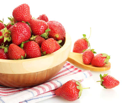 sweet ripe strawberries in wooden bowl isolated on white Stock Photo - 15742930