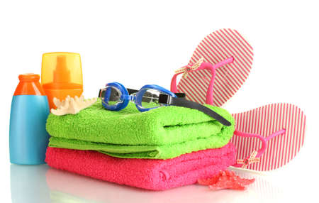 bright beach accessories, isolated on white photo