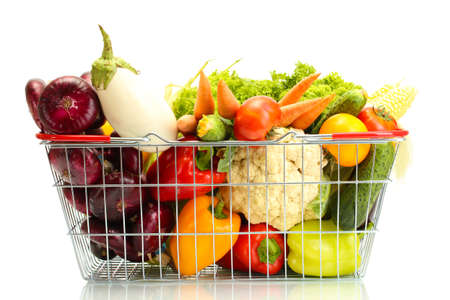 health food: Fresh vegetables in metal  basket isolated on white
