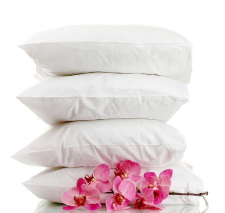 pillows and flower, isolated on white Stock Photo - 15742716