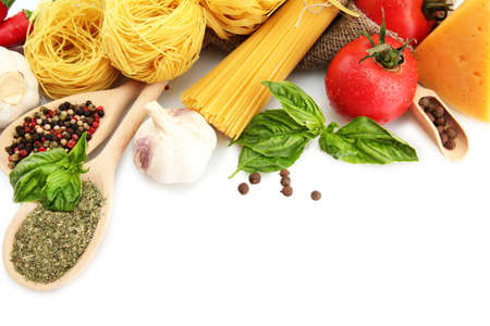 italy food: Pasta spaghetti, vegetables and spices, isolated on white