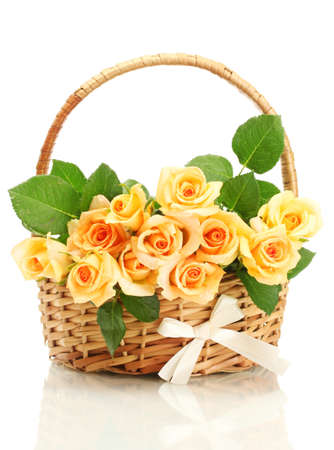 valentinas: beautiful bouquet of roses in basket isolated on white Stock Photo