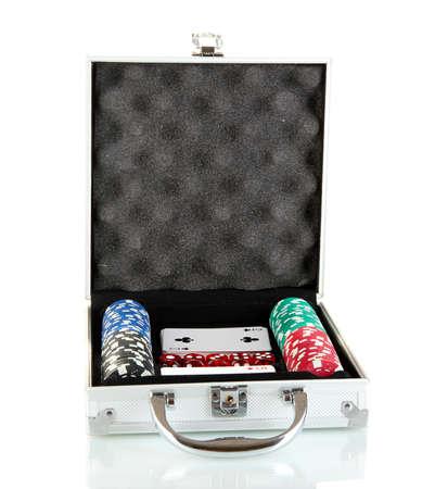 Poker set in metallic case isolated on white background Stock Photo - 15764913