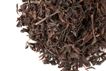 aromatic black dry tea, isolated on white photo
