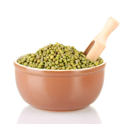 Green mung beans  with scoop in bowl isolated on white Stock Photo - 15772525