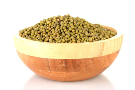 Green mung beans in bowl isolated on white Stock Photo - 15772798