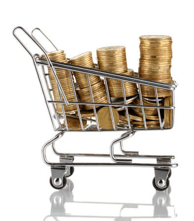 shopping trolley with Ukrainian coins, isolated on white photo