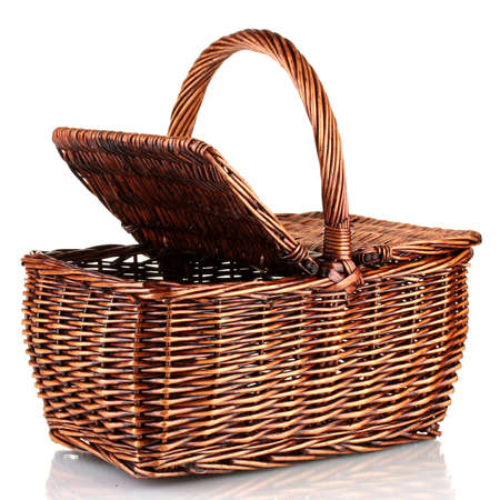 wicker basket: Picnic basket, isolated on white
