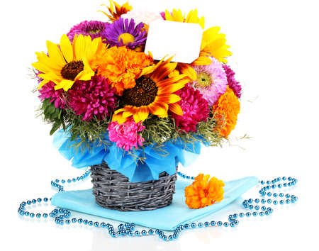 ronantic: Beautiful bouquet of bright flowers with paper note isolated on white Stock Photo
