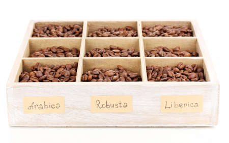 robusta: Coffee beans in wooden box isolated on white