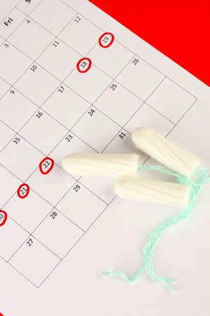 menstruation calendar with cotton tampons, close-up Stock Photo - 15830710