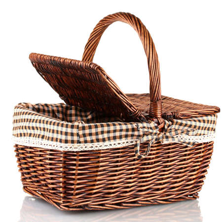 picnic cloth: Picnic basket, isolated on white
