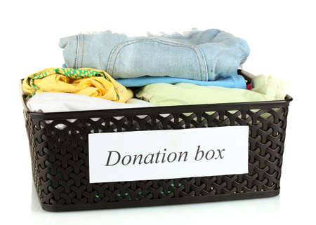 Donation box with clothing isolated on white Stock Photo - 15852068