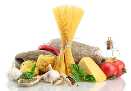 Pasta spaghetti, vegetables and spices, isolated on white Stock Photo - 15887026