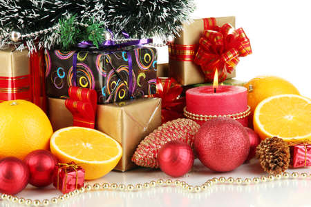 Composition from Christmas decorations isolated on white Stock Photo - 15852302