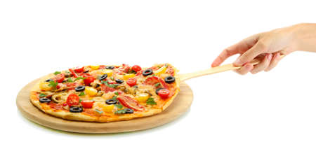 woman's hand holding a slice of pizza on a culinary shoulder on white background close-up Stock Photo - 15851687