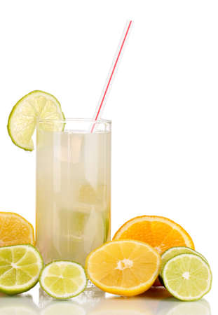 Citrus lemonade in glass of citrus around isolated on white Stock Photo - 15851728