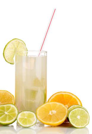 Citrus lemonade in glass of citrus around isolated on white Stock Photo - 15851728