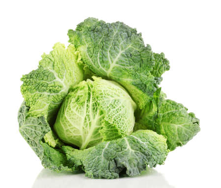 savoy: Fresh savoy cabbage isolated on white