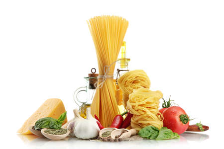 Pasta spaghetti, vegetables, spices and oil, isolated on white Stock Photo - 15931656