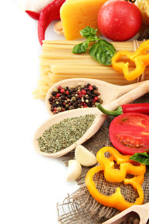 Pasta spaghetti, vegetables and spices, isolated on white Stock Photo - 15931668