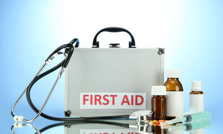 being the case: First aid box, on blue background