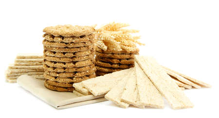 galettes: tasty crispbread and ears, isolated on white