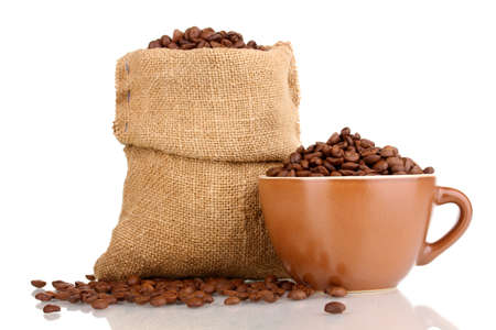coffee harvest: Coffee beans in bag and in cup isolated on white Stock Photo