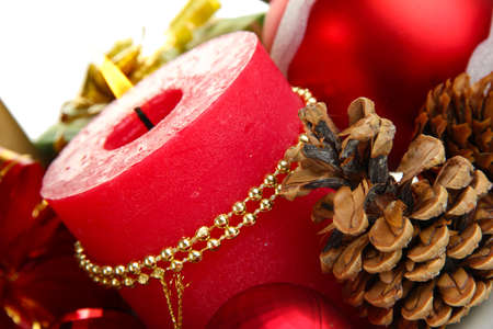Composition from Christmas decorations isolated on white Stock Photo - 15898059
