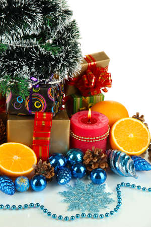 Composition from Christmas decorations isolated on white Stock Photo - 15898276