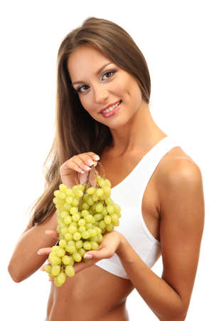 beautiful young woman with  grape, isolated on white photo