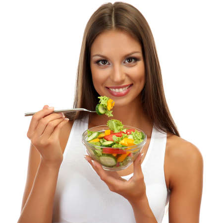 beautiful young woman with  salad, isolated on white photo