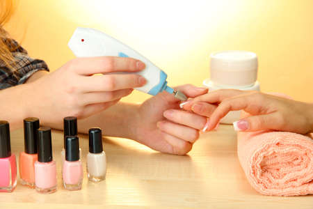 Manicure process in beauty salon, close up Stock Photo - 15897960