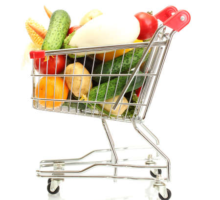 Fresh vegetables in metal trolley isolated on white Stock Photo - 15924231