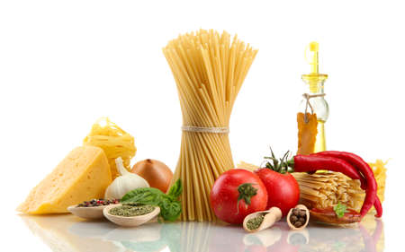 Pasta spaghetti, vegetables, spices and oil, isolated on white Stock Photo - 15931693