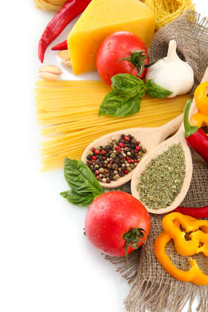 Pasta spaghetti, vegetables and spices, isolated on white Stock Photo - 15931695