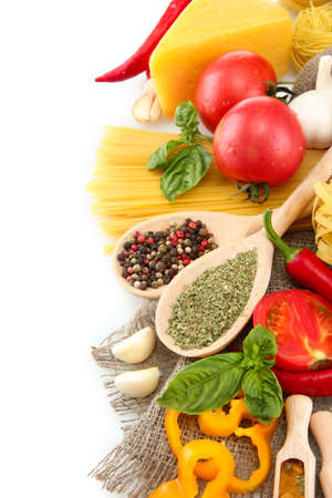 Pasta spaghetti, vegetables and spices, isolated on white Stock Photo - 15931694