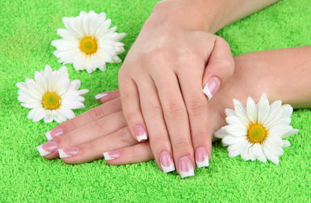 Woman hands with french manicure and flowers on green towel photo