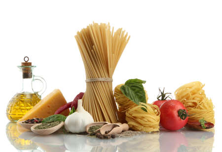 Pasta spaghetti, vegetables, spices and oil, isolated on white Stock Photo - 15963517