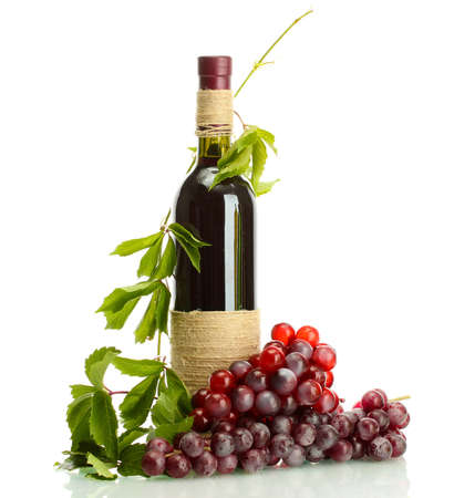 bottle of wine with grapes isolated on white Stock Photo - 15963046