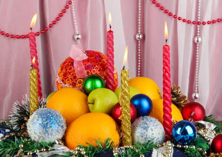 Serving Christmas table on white fabric background photo
