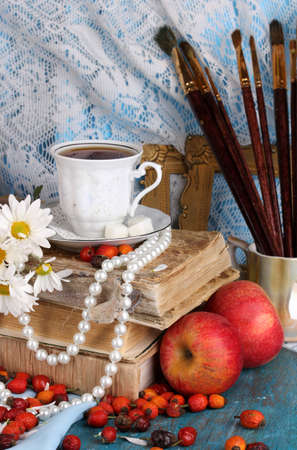 composition book: Ancient autumn still life close-up Stock Photo