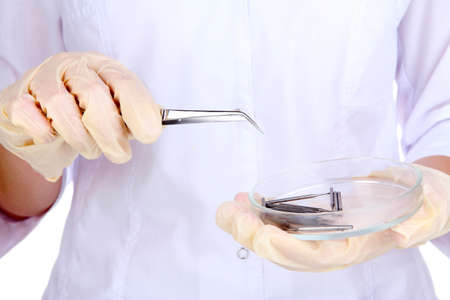 Dental tools in dentists hands photo